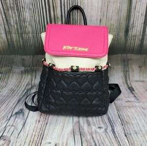 Betsey Johnson Faux Leather Heart Back Pack Purse